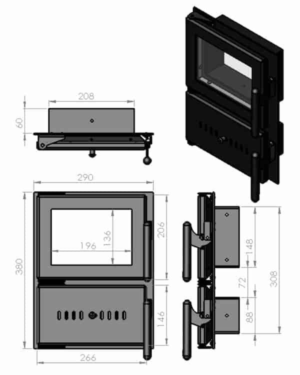 Розміри спареної дверки для варильної печі