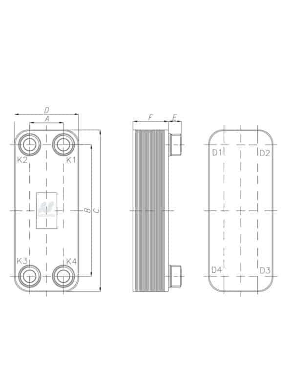 Схема для пластинчастого теплообмінник 20 пластин